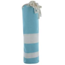 Fouta Drap Plage et Hammam Coton Turquoise Rayé Blanc
