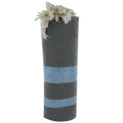 Fouta Drap Plage et Hammam Coton Taupe Rayé Lurex Bleu