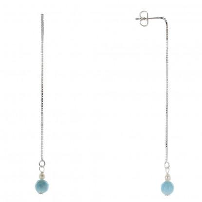 Boucles d'Oreilles Argent Fil Pendant Perles de Culture et de Larimar