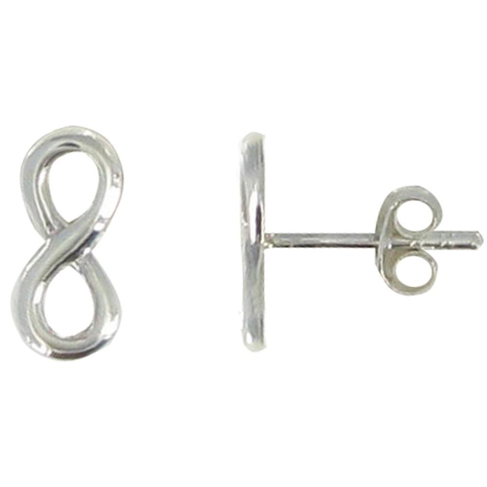 boucles d 39 oreilles argent rhodi puces infini. Black Bedroom Furniture Sets. Home Design Ideas