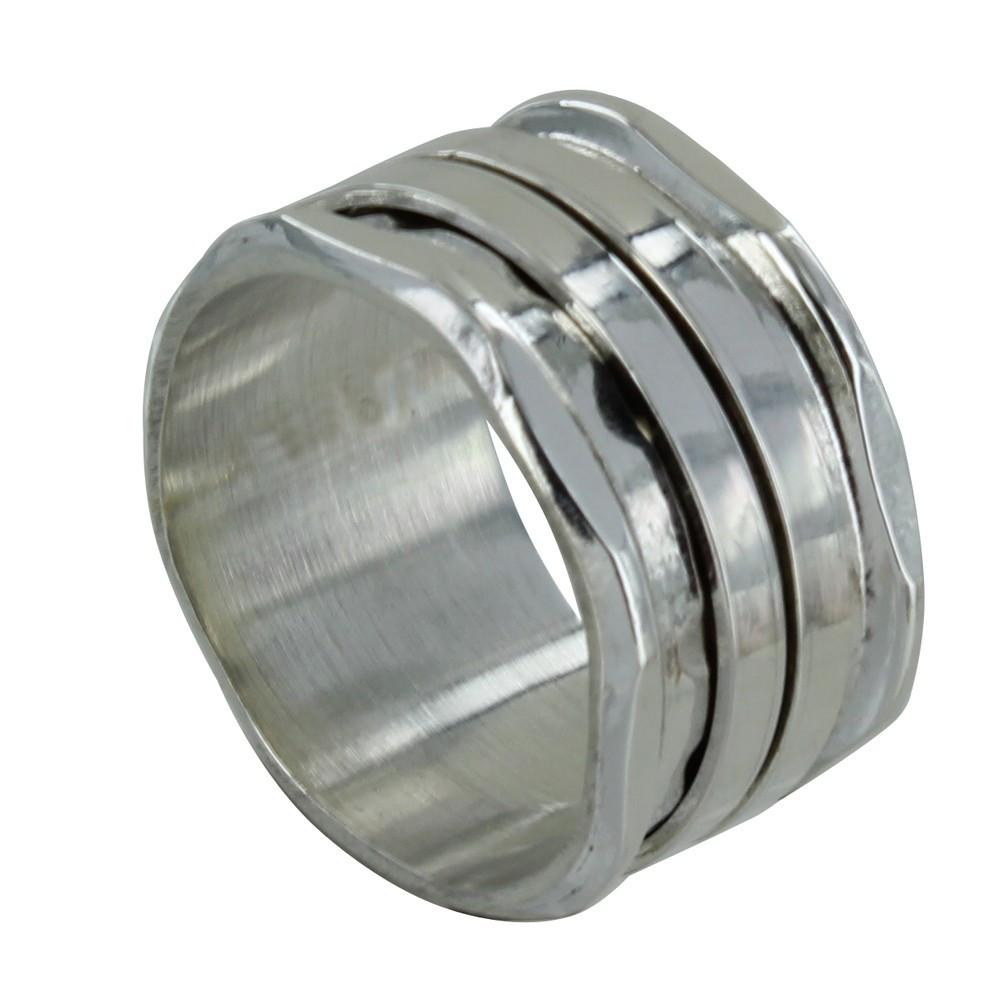Bijoux Argent Martelé : Bague argent tube martel? et ses deux anneaux mobiles