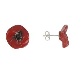 Boucles d'Oreilles Coquelicot Céramique Rouge Clous et Métal