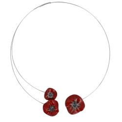 Collier Ras de Cou Trois Coquelicots Céramique Rouge et Torque Métal