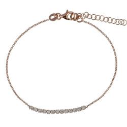 A VE Bracelet Plaqué Or Rose et Strass