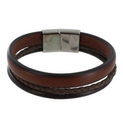 Bracelet Homme Cuir Marron Foncé Trois Lanières