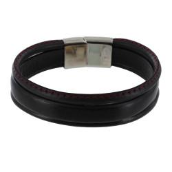 Bracelet Homme Cuir Noir Trois Lanières Cousu Rouge