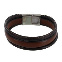 Bracelet Homme Cuir Marron Trois Lanières Cousu Beige