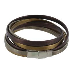 Bracelet Cuir Trois Lanières Or Argent Bronze Fermoir Acier Inoxydable