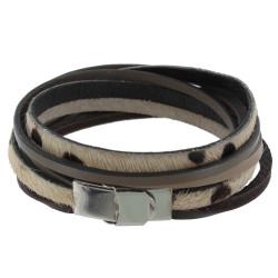 Bracelet Cuir Marron Gris et Peau Naturel Fermoir Acier Inoxydable