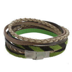 Bracelet Cuir Beige Gris et Peau Verte Fermoir Acier Inoxydable
