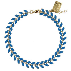 Bracelet Laurier Plaqué Or Email Bleu