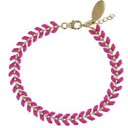 Bracelet Laurier Plaqué Or Email Fuchsia