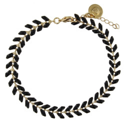Bracelet Laurier Plaqué Or Email Noir
