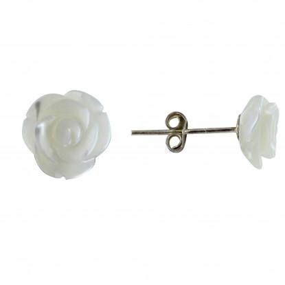 Boucles d'Oreilles Argent Rose de Nacre