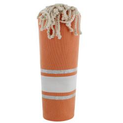 Fouta Drap Plage et Hammam Coton Orange Rayé Blanc et Lurex Argent
