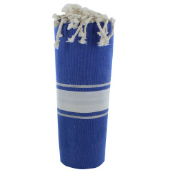 Fouta Drap Plage et Hammam Coton Bleu Mer Rayé Blanc et Lurex Argent