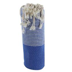 Fouta Drap Plage et Hammam Coton Nid d'Abeille Bleu Petites Rayures Lurex Argent 100 x 200cm
