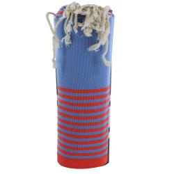 Fouta Drap Plage et Hammam Coton Couleur Bleu Rayé Rouge