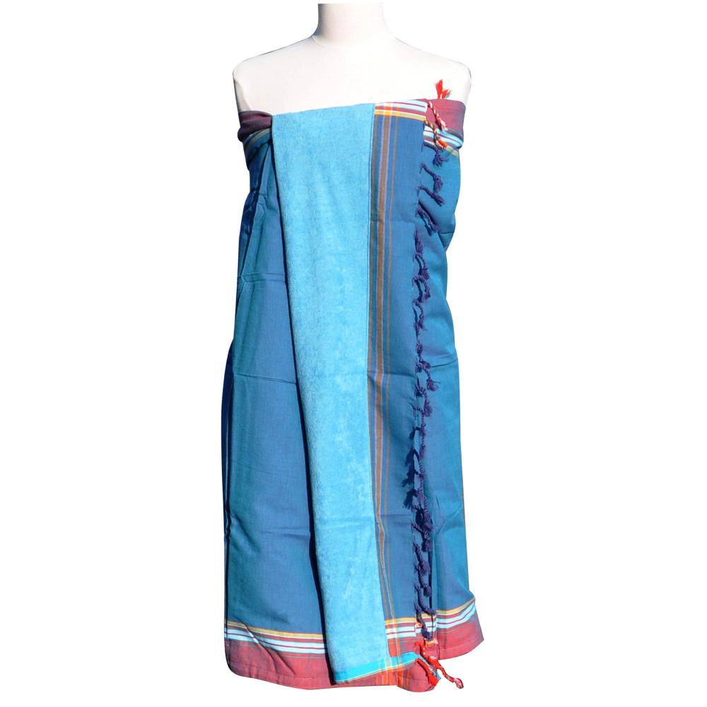 kikoy serviette plage coton couleur bleu p trole eponge. Black Bedroom Furniture Sets. Home Design Ideas