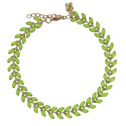 Bracelet Laurier Plaqué Or Email Vert Clair