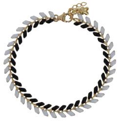 Bracelet Laurier Plaqué Or Email Noire et Blanche