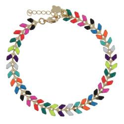 Bracelet Laurier Plaqué Or Email Multicolore
