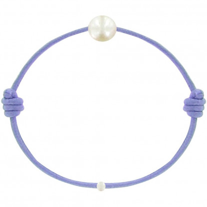 Bracelet Enfant La Perle Blanche des Petites Poulettes Lien Lilas