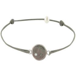 Bracelet Argent Médaille de Nacre Grise Etoile et Strass - Lien Gris Foncé