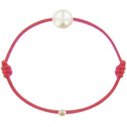 Bracelet La Perle de Culture Blanche des Poulettes Lien Rouge