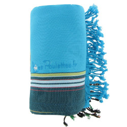 Kikoy Serviette Plage Coton Eponge Couleur Turquoise