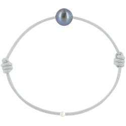 Bracelet La Perle de Culture Noire des Poulettes Lien Gris Clair