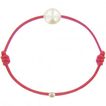Bracelet Enfant La Perle Blanche des Petites Poulettes Lien Rouge