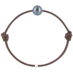 Bracelet La Perle de Culture Noire des Poulettes Lien Chocolat