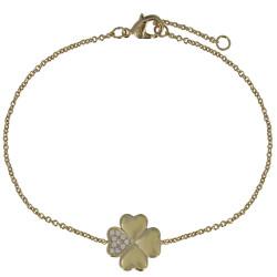 Bracelet Trèfle Plaqué Or et Un Pétale de Strass