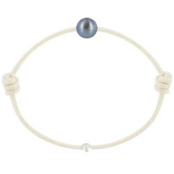 Bracelet La Perle de Culture Noire des Poulettes Lien Beige Clair