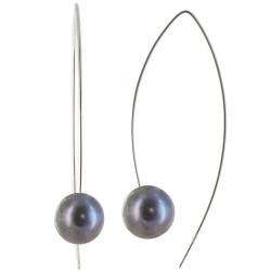 Boucles d'Oreilles Argent Rhodié et Perle Gris Noire 11 mm