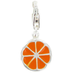Charms Bracelet Argent Orange Rondelle