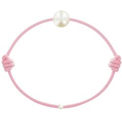 Bracelet La Perle de Culture Blanche des Poulettes Lien Rose