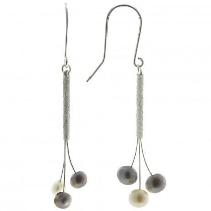Boucles d'Oreilles Argent Rhodié Trois Perles de Culture Gris et Blanc