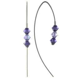 Boucles d'Oreilles Argent Rhodié Trois Perles de Swarovski Violet