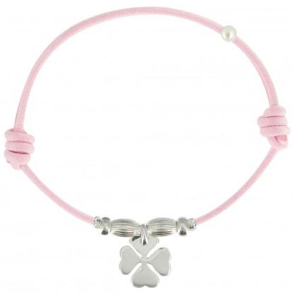 Bracelet Lien Trèfle Argent Lien Coton Rose