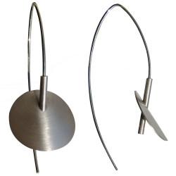 Boucles d'Oreilles Nénuphars en Argent Rhodié