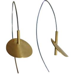 Boucles d'Oreilles Nénuphars Doré et Argent