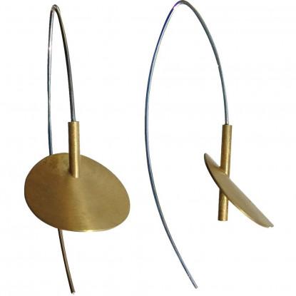 Boucles d'Oreilles Nénuphars Vermeil et Argent Rhodié