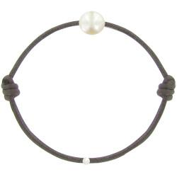 Bracelet La Perle de Culture Blanche des Poulettes Lien Marron Foncé