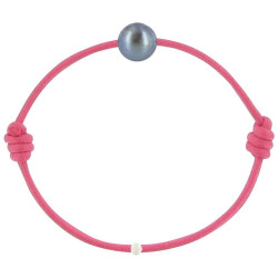 Bracelet La Perle de Culture Noire des Poulettes Lien Fuchsia
