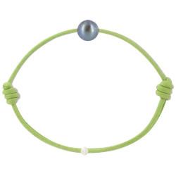 Bracelet La Perle de Culture Noire des Poulettes Lien Vert