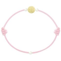 Bracelet La Perle en Or 18 K Diamantée des Poulettes Lien Rose