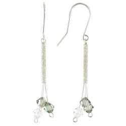 Boucles d'Oreilles Argent Trois Perles de Swarovski Blanches et Grises