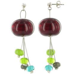 Boucles d'Oreilles Bouquet de Verre Rouge et ses Tiges de Perles